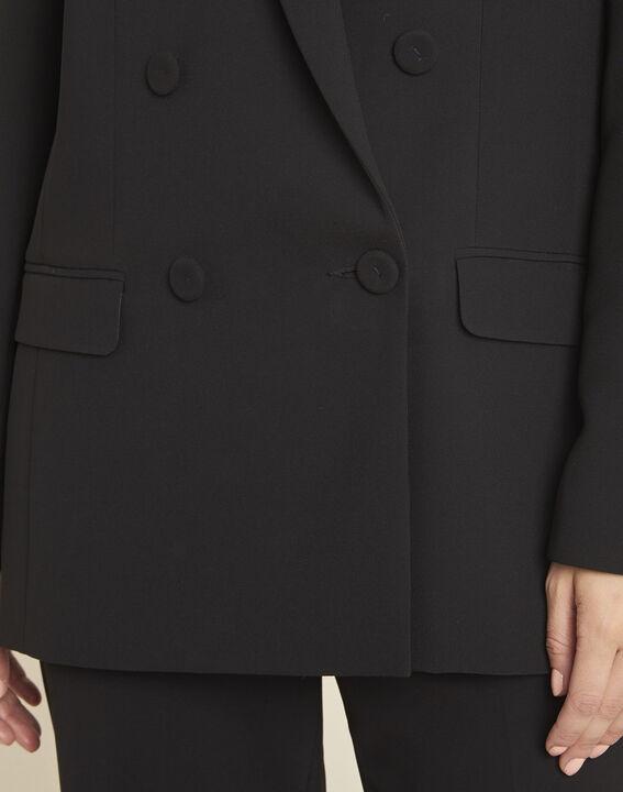 Veste tailleur noire longue à double boutonnage Shana (3) - Maison 123