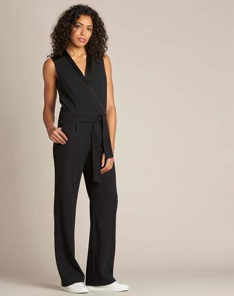Gloria tuxedo-style black jumpsuit black.