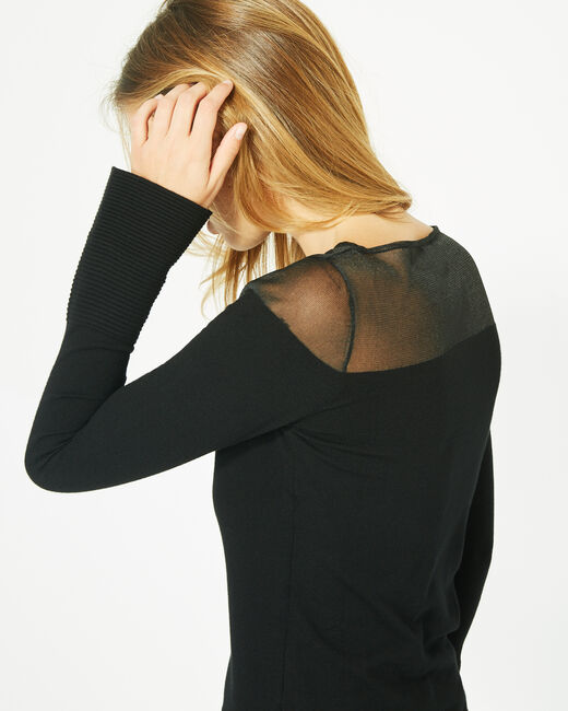 Pinup black sweater with rounded neckline and a transparent look (2) - 1-2-3