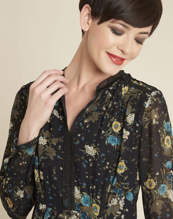 Dolores black dress with floral print (3) - 1-2-3