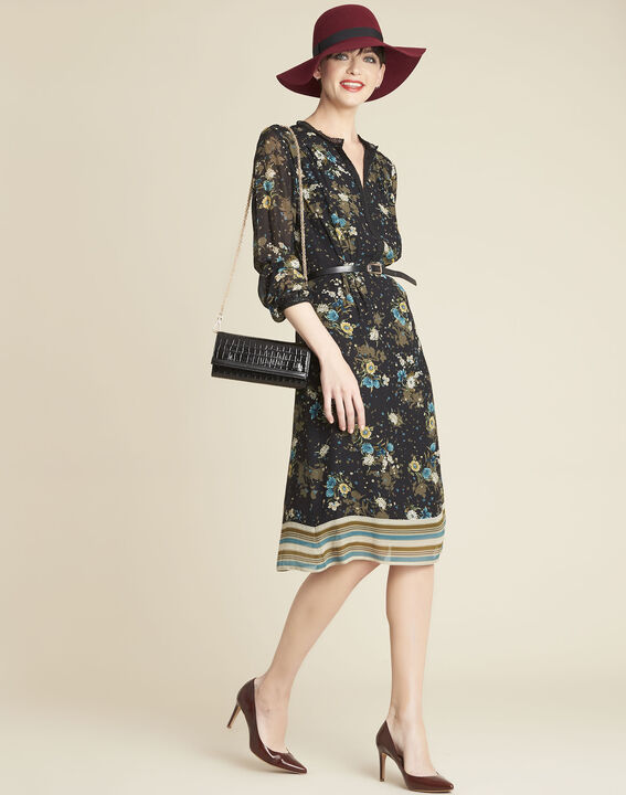 Dolores black dress with floral print (3) - 1-2-3