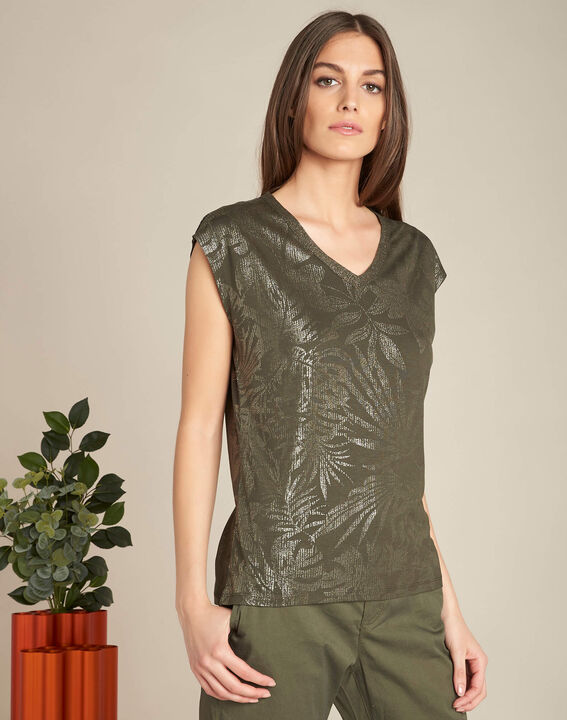 Enight khaki T-shirt with shiny V-neckline (3) - 1-2-3
