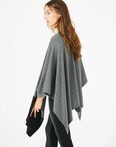 Cape noire et gris chiné en laine polly chine clair.