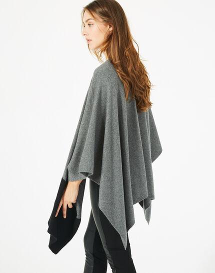 Cape noire et gris chiné en laine Polly (2) - 1-2-3
