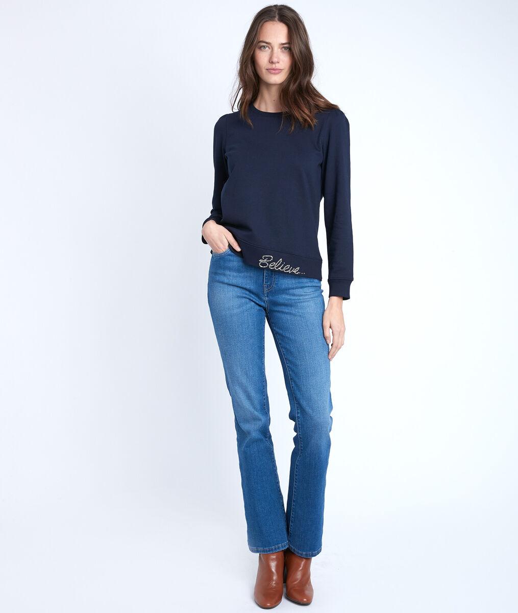 Marineblaues Sweatshirt mit Strass Ivy PhotoZ | 1-2-3