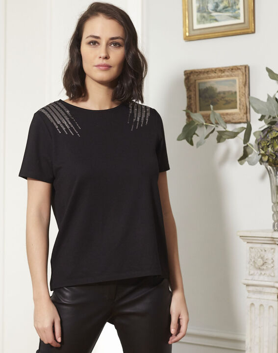 Tee-shirt noir brodé à sequins Grazie (1) - Maison 123