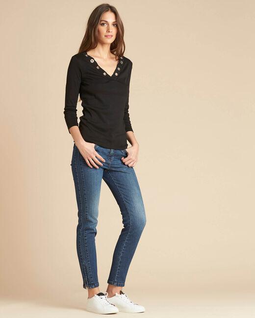 Tee-shirt noir encolure à oeillets Basic (1) - 1-2-3