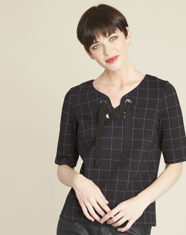 Geck black checked blouse with laced neckline (1) - 1-2-3