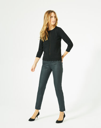 Pavlova black sweater with rounded neckline and lace insert! PhotoZ | 1-2-3