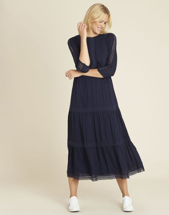 Diane navy blue dual-fabric lace dress (1) - 1-2-3