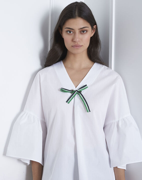 Blouse blanche popeline noeud Vianna (3) - Maison 123