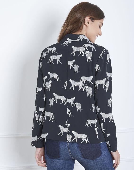 Veste noire imprimé léopoard Fauve (4) - Maison 123
