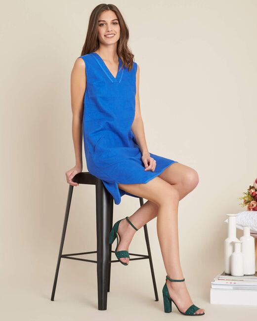 Robe bleu droite en lin Pim (2) - 1-2-3