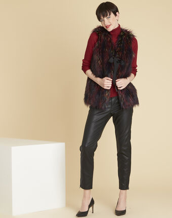 Pilou multi-coloured cardigan in faux fur bordeaux.