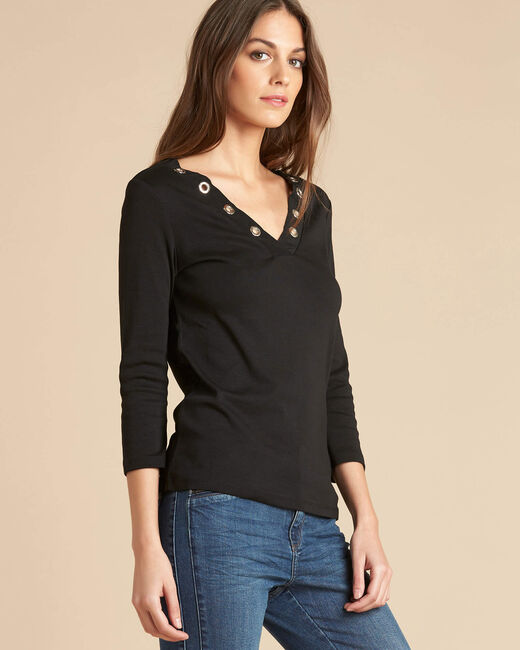 Basic black T-shirt with rounded neckline and eyelets (2) - 1-2-3