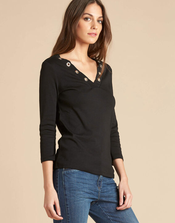 Tee-shirt noir encolure à oeillets Basic (3) - 1-2-3