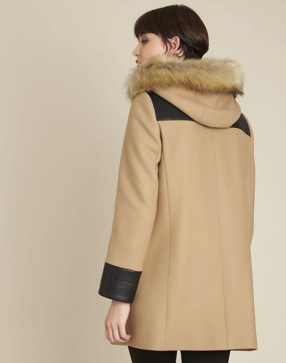 Camel mantel met capuchon van gemengd wol Princesse (4) - 37653