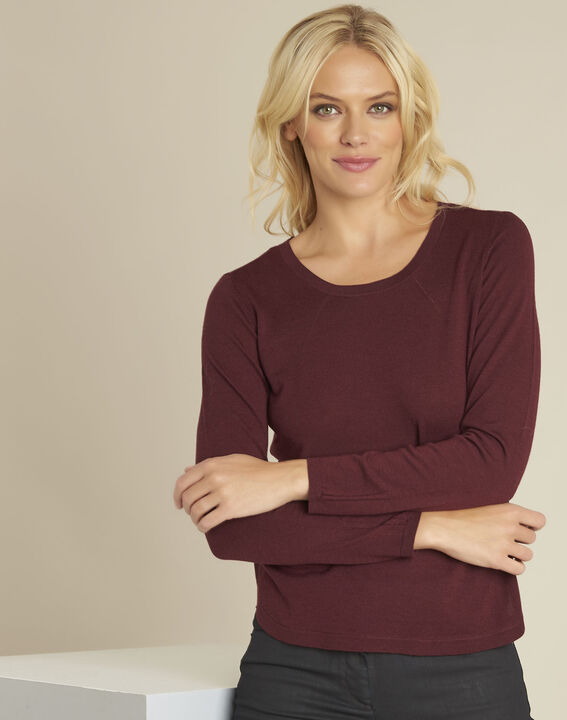 Berlin Bordeaux fine knit wool pullover PhotoZ | 1-2-3