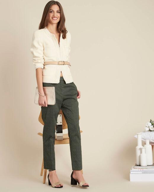 Carlotta jacquard effect ecru short jacket (1) - 1-2-3