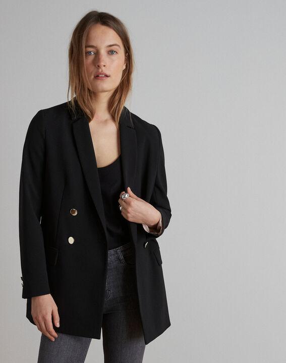 Schwarze, lange und gekreuzte Jacke aus Mikrofaser Florine (1) - Maison 123