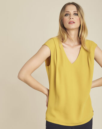 Neptune dual-fabric amber blouse with v-neck ochre.