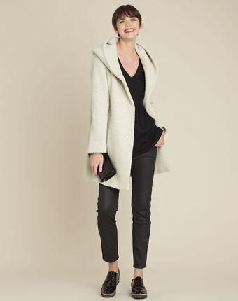 Manteau écru capuche laine mélangée edwin ecru.