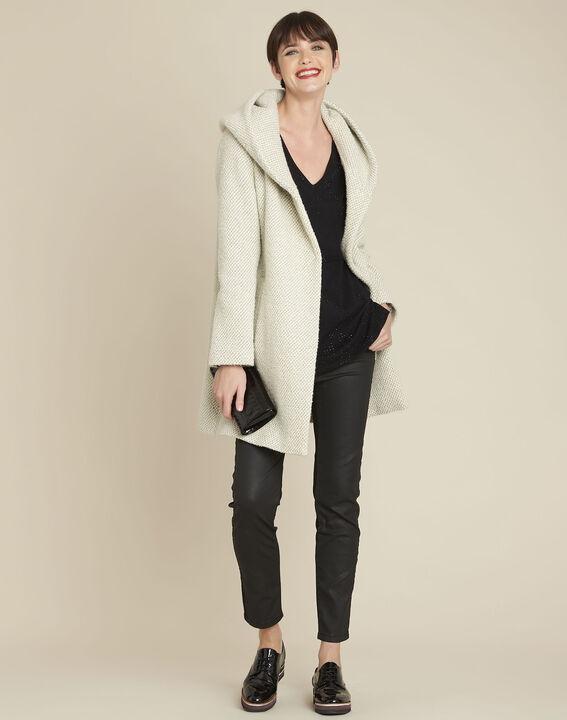Ecrufarbener Mantel mit Kapuze aus Wollgemisch Edwin (2) - 1-2-3