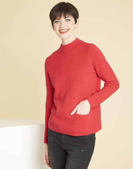 Pull rouge maille fine col montant Belize (1) - Maison 123