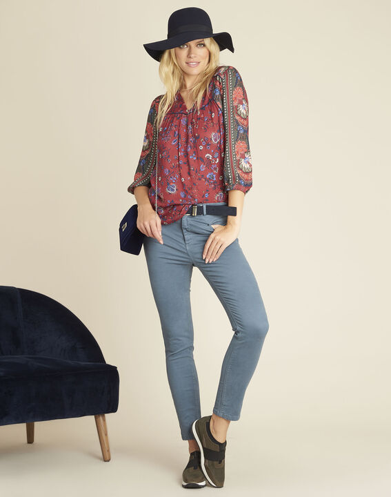 Cécile red blouse with a floral print (2) - Maison 123