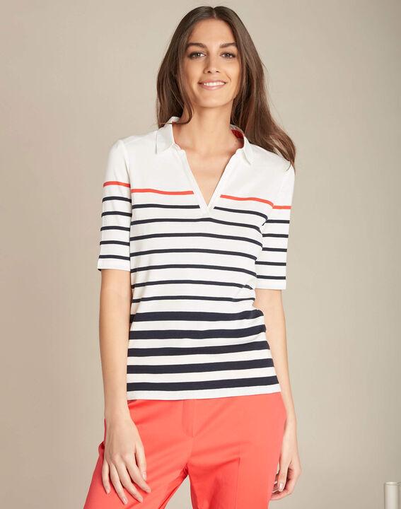 Marineblaues gestreiftes Polo-Shirt Embruns (3) - 1-2-3