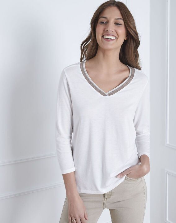 Tee-shirt écru encolure lurex Paillette (1) - 1-2-3