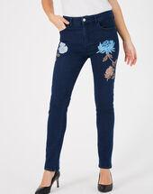 Noémie 7/8 length embroidered indigo jeans dark indigo.