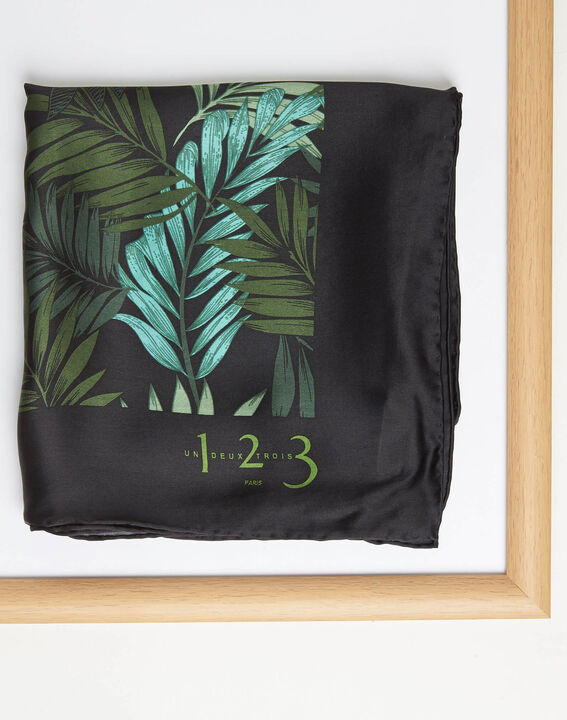 Adélie green floral printed square scarf in silk (2) - 1-2-3