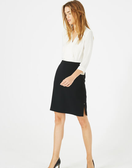 Fanfare straight-cut black tailored skirt (2) - 1-2-3