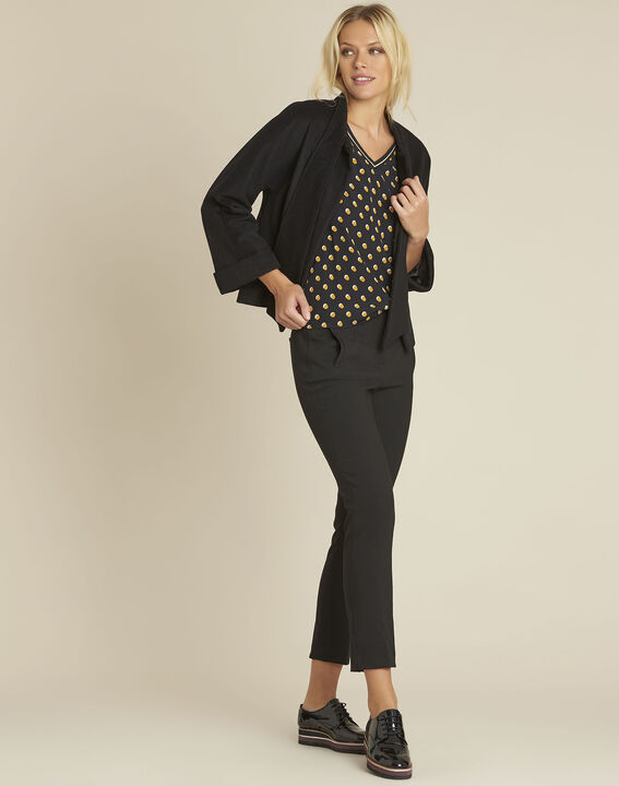 Charlie black blouse with yellow polka dots (2) - 1-2-3