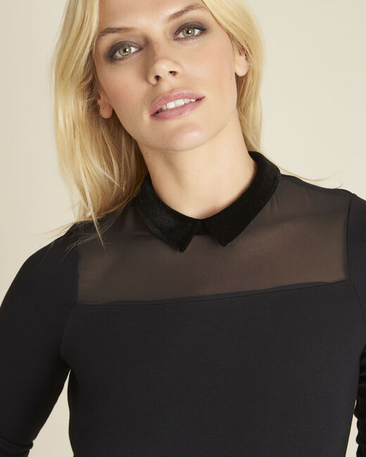 Tee-shirt noir col claudine Gwendoline (2) - 1-2-3