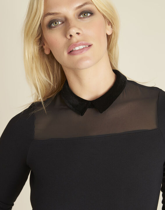Tee-shirt noir col claudine Gwendoline (3) - 1-2-3