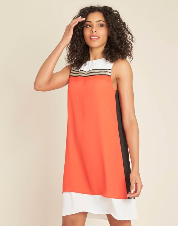Isola orange dress with gold detailing (3) - 1-2-3