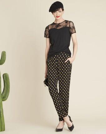 Tee-shirt noir encolure dentelle glamour noir.