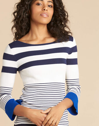 Pins blue wide-striped sweater blue.