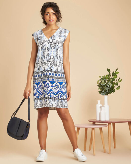 Pretty navy V-neck dress with ethnic print (1) - 1-2-3