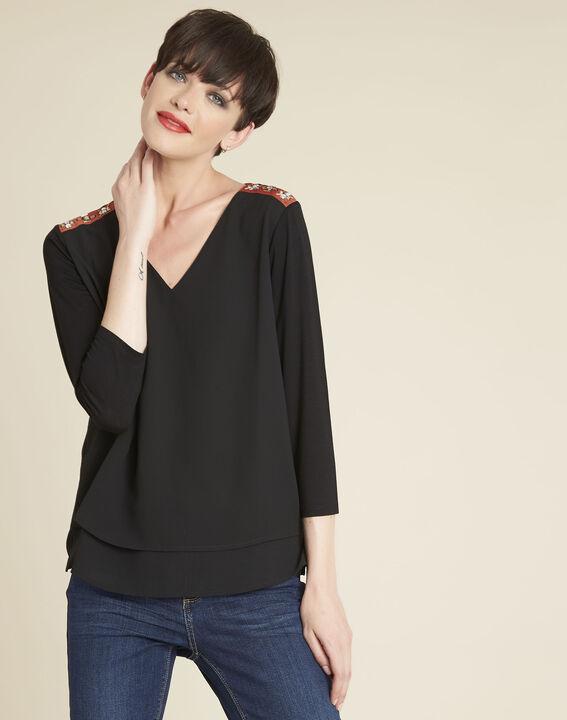 Blouse noire détails bijoux à épaules Coralie PhotoZ | 1-2-3