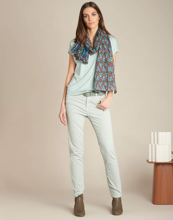 Amandelkleurige verwassen slim fit jeans met normale taille Vendôme (2) - 37653