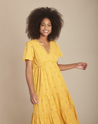 Robe jaune longue broderie anglaise lima bouton d`or.