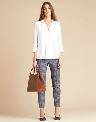 Viva 7/8 length slim-cut trousers with graphic print blue.
