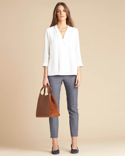 Viva 7/8 length slim-cut trousers with graphic print (1) - 1-2-3