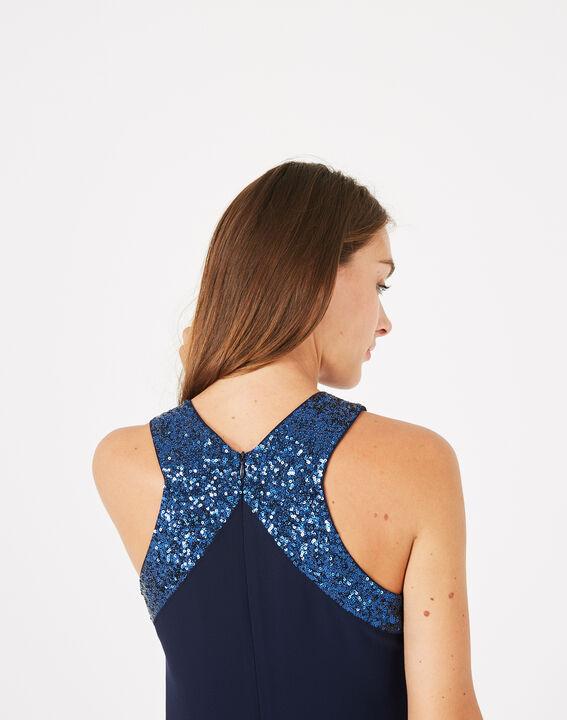 Robe bleu encre détails sequins Gala (4) - 1-2-3