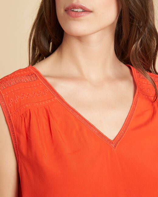 Geden orange V-neck embroidered top (2) - 1-2-3