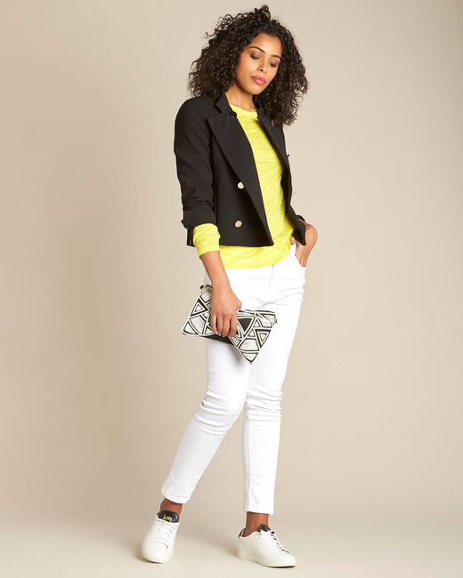 Elin lemon long-sleeved T-shirt in linen. (2) - 1-2-3