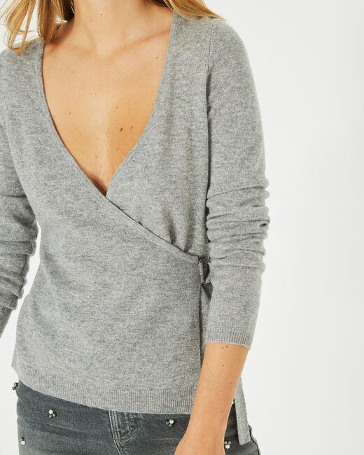 Pull gris chiné façon cache-coeur en laine mélangée Poésie (1) - 1-2-3